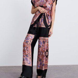 Zara Wide Leg Scarf Print Pants S
